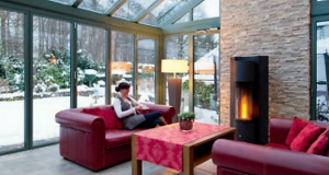 Winter garden with fire place for heating