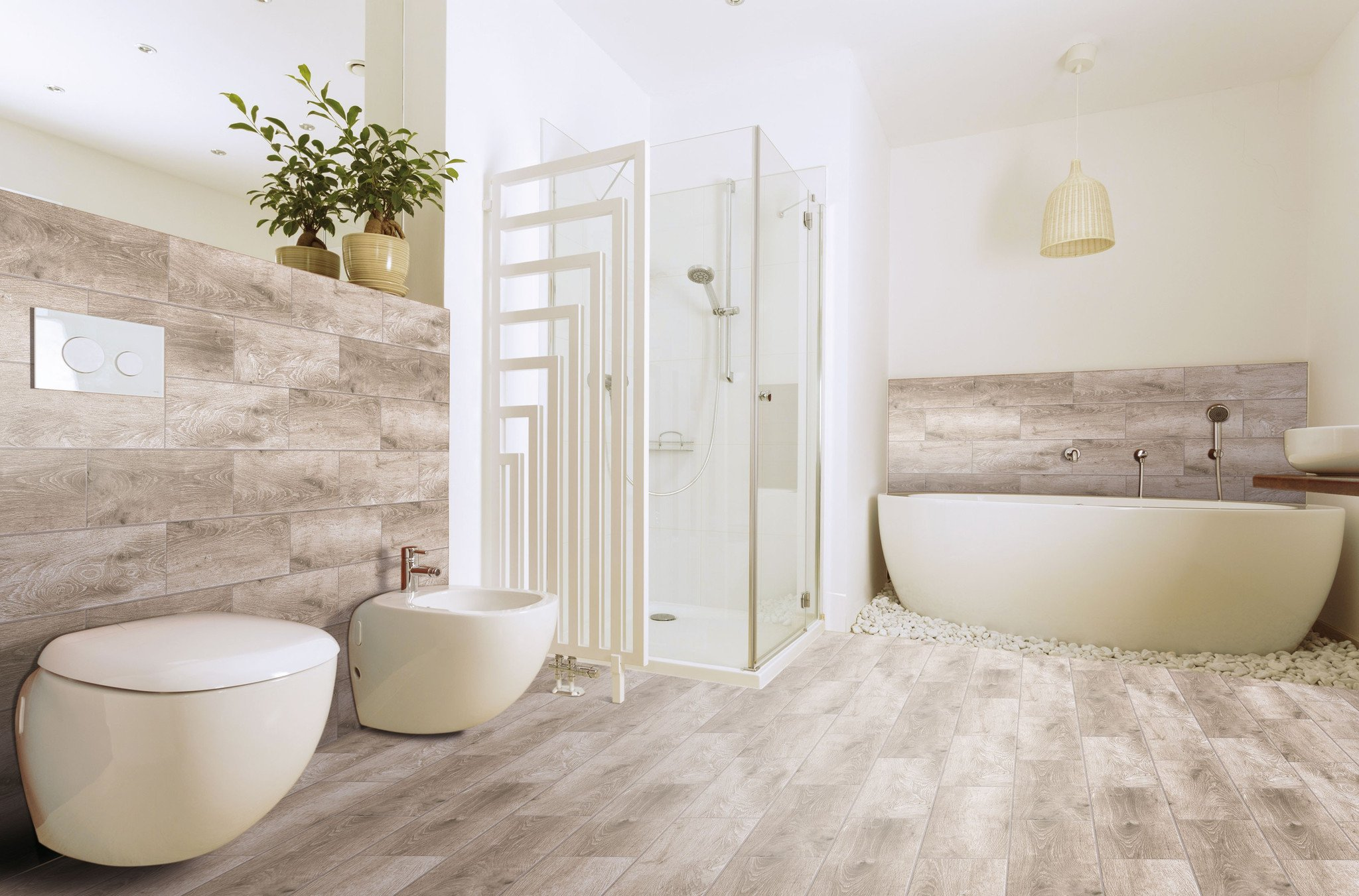 Bathroom with Ample Greige Wood Effect Tile